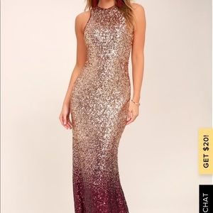 BURGUNDY AND ROSE GOLD OMBRE SEQUIN MAXI DRESS